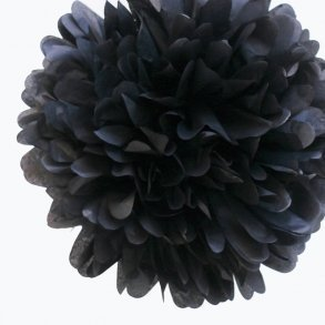 Black Mini Tissue Paper Pom Poms - Pack of 8