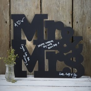 Black Mr & Mrs Wooden Chalkboard Guest Book Alternative Sign