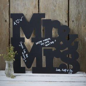 Black Mr & Mrs Wooden Chalkboard Guest Book Alternative Sign