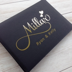 Couples Surname Personalised Metallic Foil Wedding Guest Book