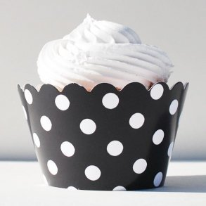 Black & White Polka Dot Cupcake Wrappers - Pack of 12