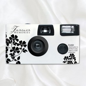 Black & White Floral Disposable Wedding Camera