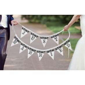 Black & White Just Married Pennant Banner