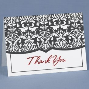 Black White & Red Thank You Cards - Pack of 50