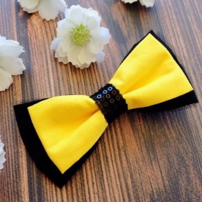 Yellow & Black Fabric Bow Hair Clip or Headband