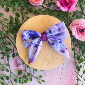 Blue Crush Floral Girls Hair Bow Clip or Headband
