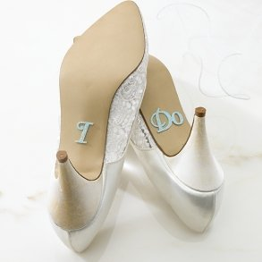 Blue Glitter I Do Shoe Stickers