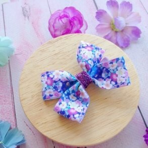 Bright Blue Floral Grosgrain Ribbon Bow Hair Clip or Headband