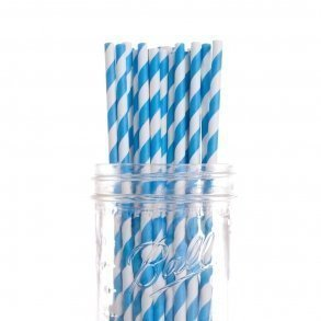Blue Stripe Paper Straws - Pack of 25