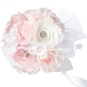 Blush Pink & Ivory Artificial Wedding Bouquet