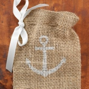 Burlap Boat Anchor Favour Bags - Pack of 25