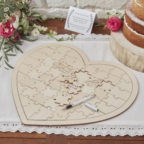 Wooden Boho Heart Jigsaw Puzzle Wedding Guest Book Alternative