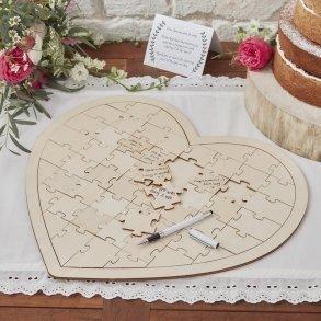 Wooden Boho Jigsaw Puzzle Wedding Guest Book Alternative