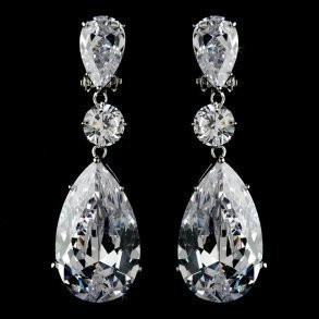 Breathtaking Large Cubic Zirconia Drop Clip On Earrings