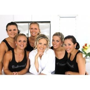 Black or White Bridal Party Singlet With Diamantes