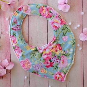 Bright Blue Floral Fabric Handmade Baby Girls Bibs