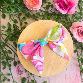 Bright Floral Rainbow Baby Bow Hair Clip or Headband
