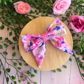 Bright Pink & Blue Floral Girls Hair Bow Clip or Headband