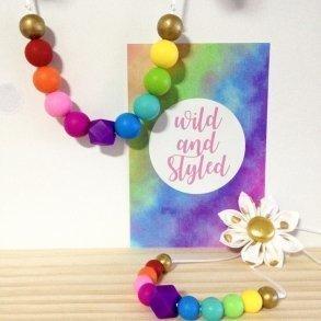 Bright Rainbow Matching Mummy & Daughter Necklace Set