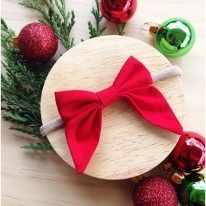 Bright Red Christmas Bow Girls Hair Accessory