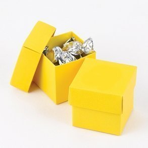 Bright Yellow Favour Bomboniere Boxes