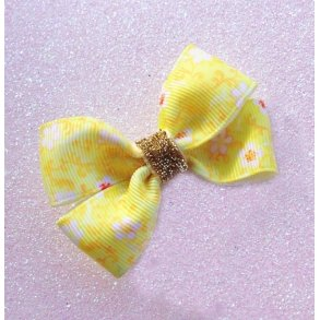 Bright Yellow Floral Grosgrain Ribbon Bow Hair Clip or Headband
