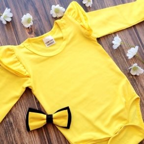 Bright Yellow Long Sleeve Flutter Onesie