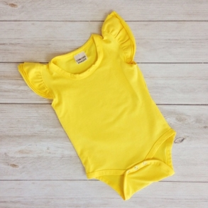 Bright Yellow Short Sleeve Flutter Onesie & Top