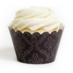 Brown Damask Cupcake Wrappers - Pack of 12