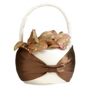 Brown On Cream Flower Girl Basket