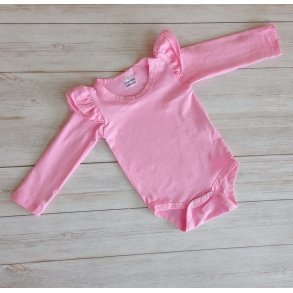Bubblegum Pink Long Sleeve Flutter Onesie