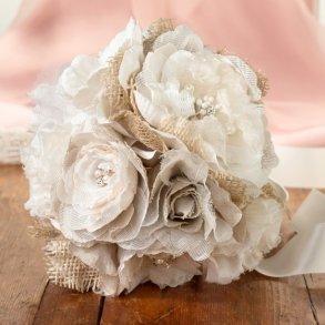 Burlap & Lace Artificial Wedding Bouquet