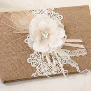 Burlap & Lace Wedding Guest Book