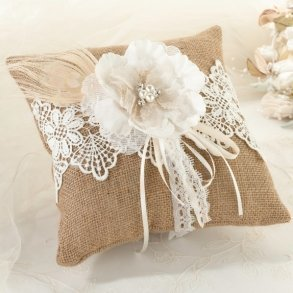 Burlap & Lace Wedding Ring Pillow