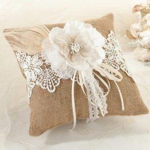 Burlap & Lace Wedding Ring Pillow
