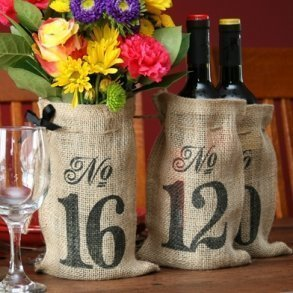 Burlap Table Number Wine Bags 11-20
