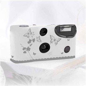 White & Silver Butterfly Garden Disposable Cameras