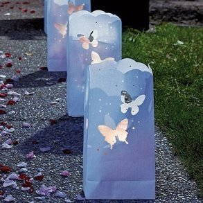 Light The Way White Luminary Bags With Die Cut Butterfly Pattern