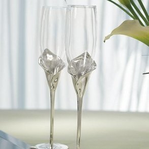 Calla Lily Toasting Flutes With Silver Plated Stem