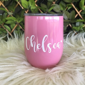 Candy Pink Personalised Insulated Wine Tumbler Cup 12oz
