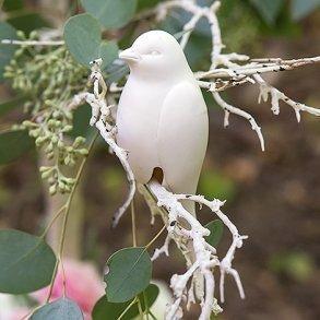 Ceramic White Perching Bird