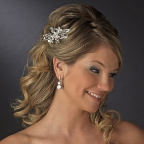 Charming Silver Plated Crystal Flower Bridal Hair Comb