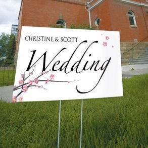 Cherry Blossom Wedding Directional Sign
