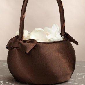 Chocolate Brown Flower Girl Basket