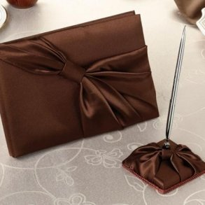 Chocolate Brown Wedding Guest Book & Pen Set