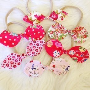 Fabric Baby Bow Christmas Style Headbands