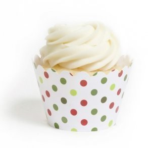 Festive Dots Cupcake Wrappers - Pack of 12