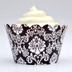 Classic Black Damask Cupcake Wrappers - Pack of 12