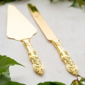 Classic Gold Romance Cake Serving Set