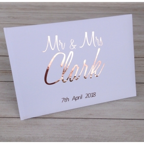 Classic Personalised Metallic Foil Wedding Guest Book - 3 colours